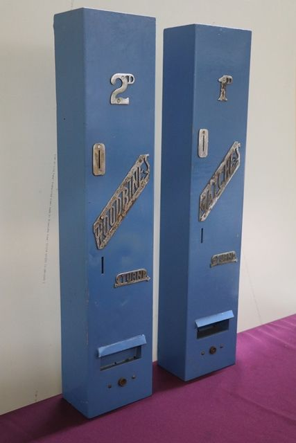 A Pair Of Wall Mounted Vending Machines FOr Matches + Woodbines Cigarettes