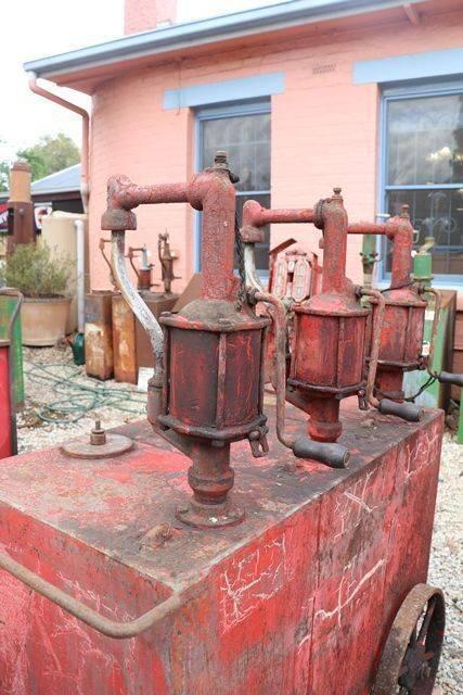 A Portable Triple Pump Oil Cart in Original Condition