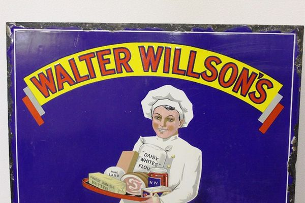 A Rare Antique Walter Wilsons Smiling Service Enamel Sign