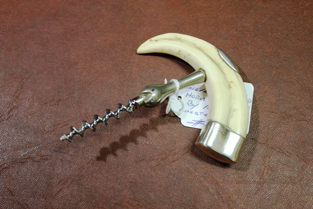 A Rare Silver Mounted Horn Corkscrew By Asprey Chester 1927
