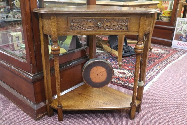 A Rare and Unusual Early 20th Century English Oak Corner Table Dinner Gong