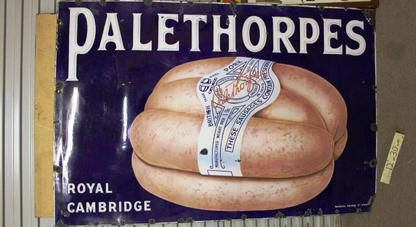 A Stunning Large Palethorpes Sausages Pictorial Enamel Sign
