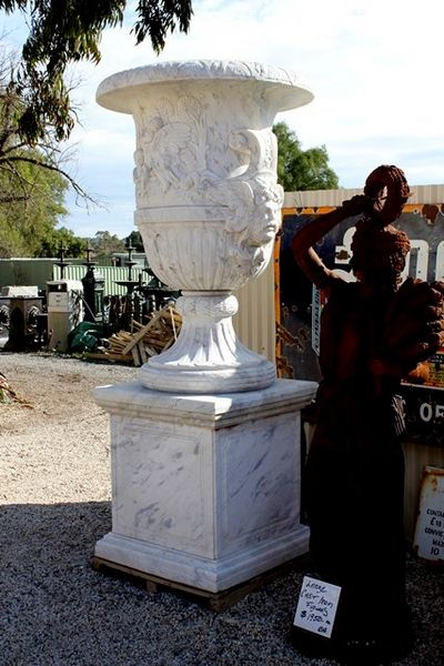 A Stunning Pair of Large Classical Marble Urns on Stands
