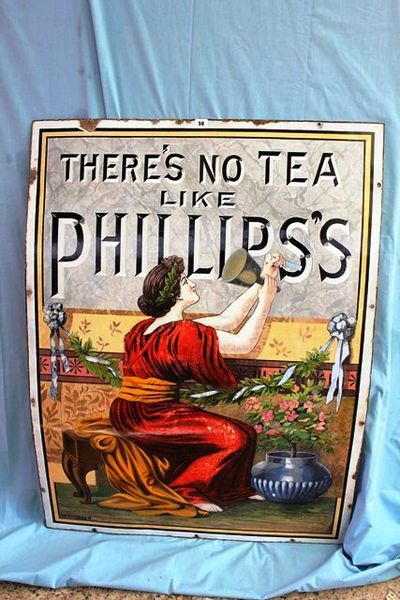 A Stunning Phillips Tea Pictorial Enamel Sign