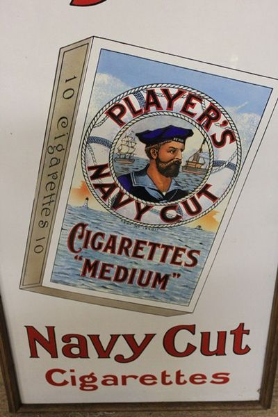 A Stunning Players Navy Cut Cigarettes Enamel Sign