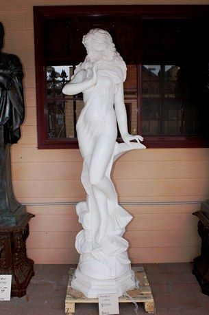 A Stunning White Marble Statue of a Maiden