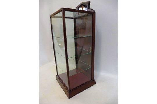 A Swan Pens Mahogany Counter Top Dispensing Cabinet