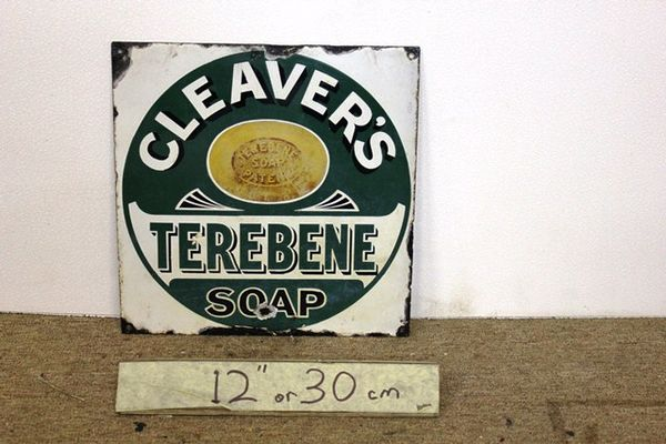 A Unique + Early Cleavers Terebene Soap Enamel Sign