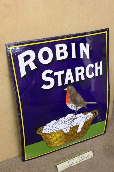 A Vintage Robin Starch Pictorial Advertising  Enamel Sign