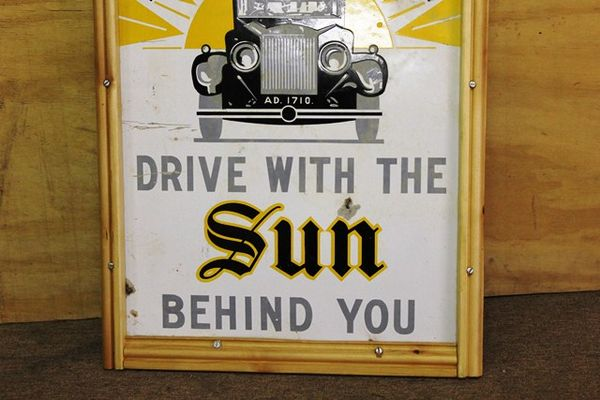 A Vintage Sun Ins Pictorial Enamel Sign