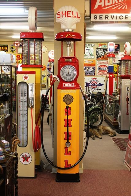 A Well Restored Rare Themis Single Cylinder Manual Petrol Pump