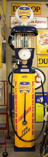 A Well Restored Themis Deluxe Petrol Pump In Golden Fleece Livery