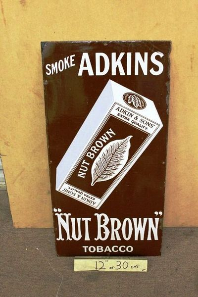 Adkins Nut Brown Pictorial Tobacco Enamel Sign