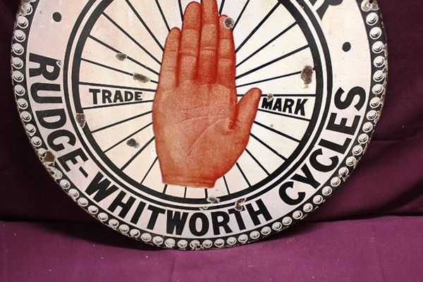 Agency For Rudge and Wentworth Cycles Enamel Sign