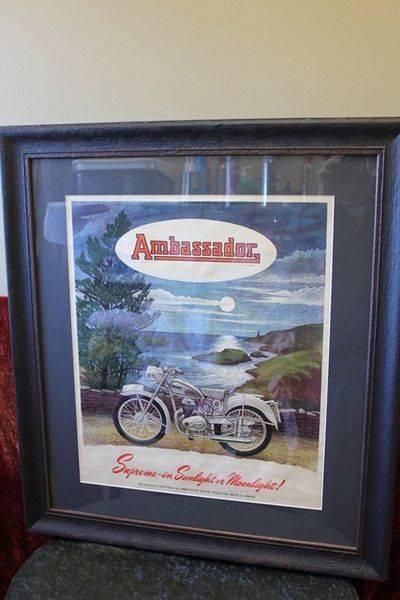 Ambassador Motorcycles Framed Shop Display Card