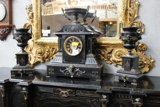 An imposing and fine quality black slate French 8 day  clock set circa 1870