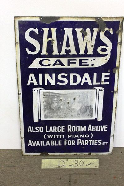 Antique + Rare Shaws Cafe Pictorial Enamel Sign