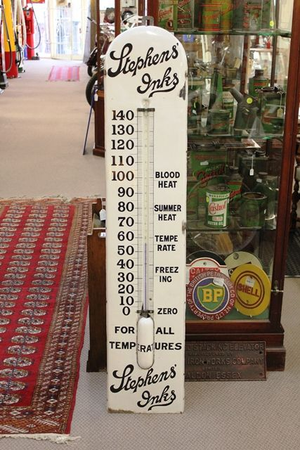 Antique 5ft Enamel Stephens Ink Advertising Thermometer