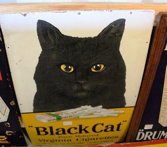Antique Black Cat Cigarette  Enamel Sign