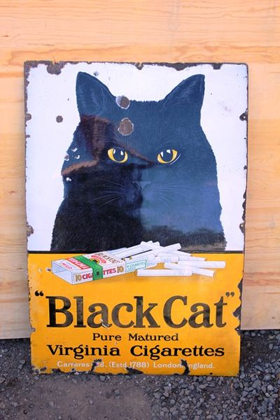 Antique Black Cat Cigarette  Enamel Sign