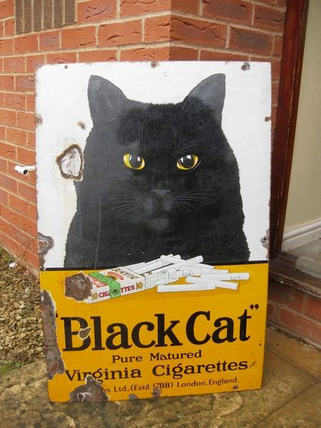Antique Black Cat Enamel Sign