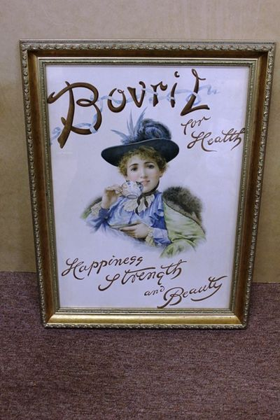 Antique Bovril Framed Pictorial Card Advertising Sign