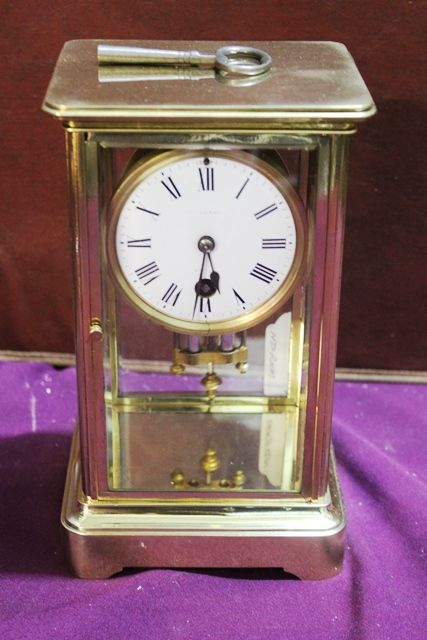 Antique Brass Crystal Regulator With Mercury Pendulum Carraige Clock