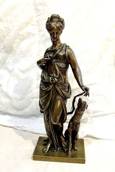 Antique Bronze of Diana + Hound by Duboy