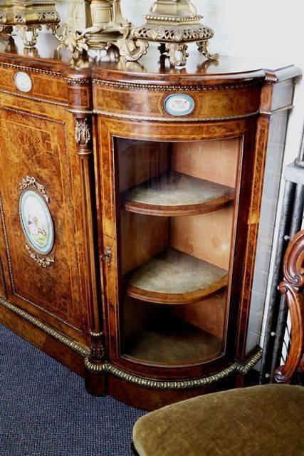 Antique Burr Walnut 4 Door Credenza