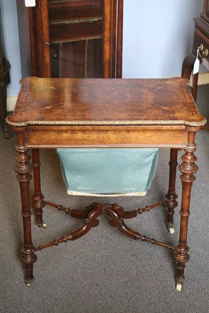 Antique Burr Walnut Sewing Table