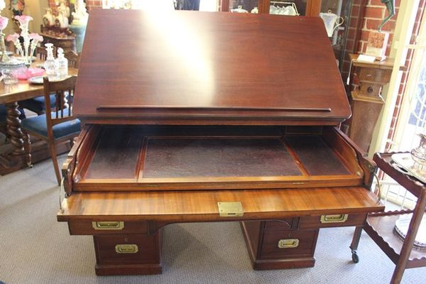 Antique C19th Mahogany Architects Desk - Antique C19th Mahogany Architect`s Desk. XXXX Antique Complex