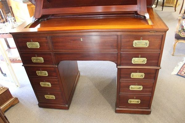Antique C19th Mahogany Architects Desk