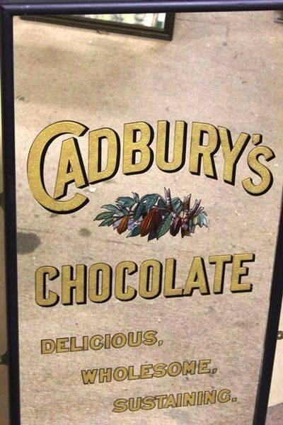Antique Cadburys Chocolate Advertising Mirror
