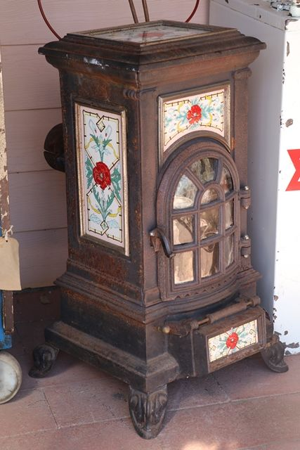 Antique Cast Iron Room Heater with Hand Painted Pottery
