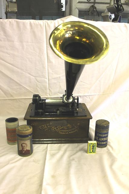 Antique Edison Gramophone and Cylinders