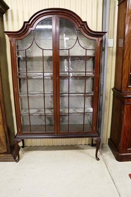 Antique Edwardian Two Door Dome Top Display Cabinet