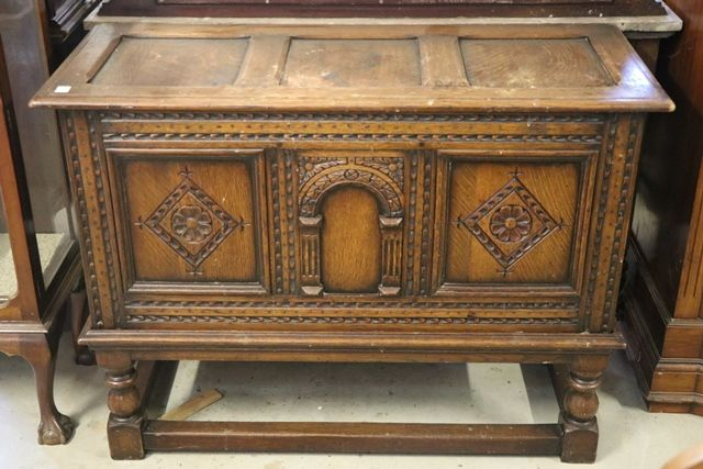 Antique English Carved Oak Coffer
