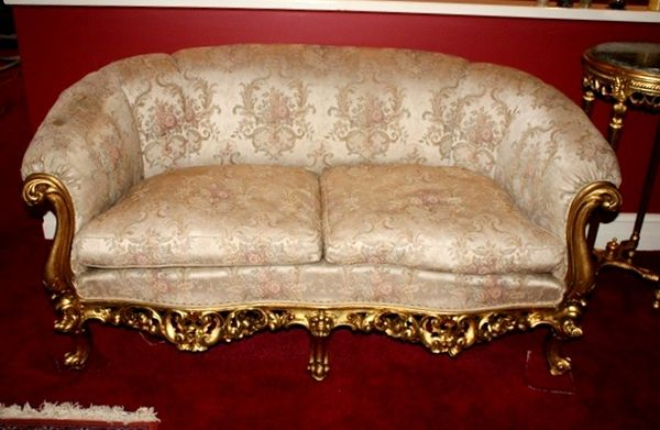 Antique French Carved Gilt wood 3 Piece Drawing room Suite