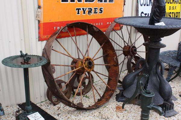 Antique Large Iron Harvester Wheels