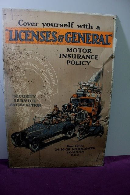 Antique Licenses + General Pictorial Tin Sign