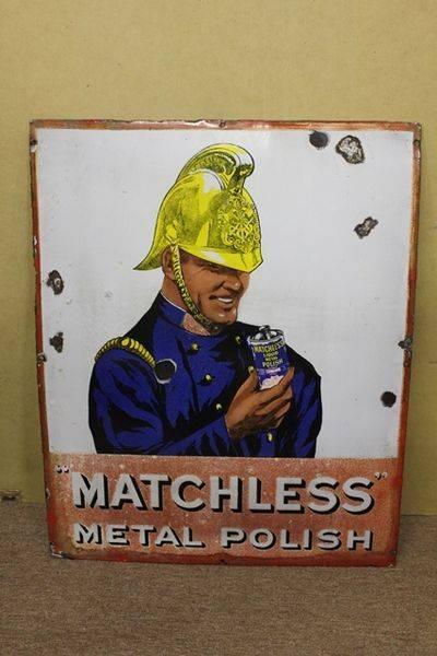 Antique Matchless Metal Polish Enamel Sign