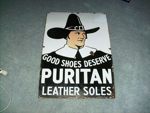 Antique Puritan Leather Soles Pictorial Enamel Sign