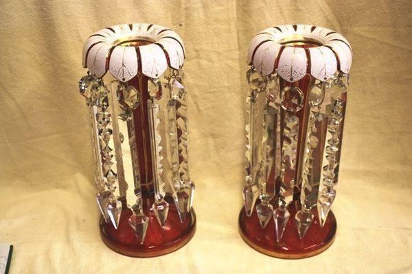 Antique Rare Pr  Ruby Glass Luster Vases Arriving Nov