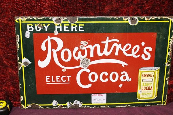 Antique Rowntrees Cocoa Enamel Sign