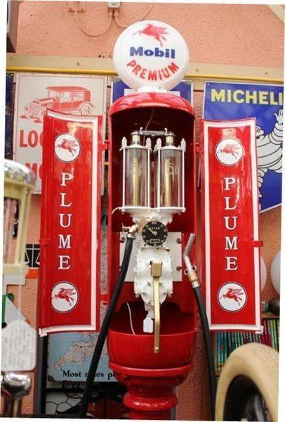 Antique Satam Plume double glass bowl petrol bowser