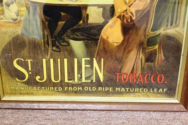 Antique St Julian Tobacco Framed Advertising Sign