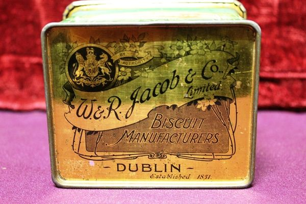 Antique W R Jacob + Co Pictorial Biscuit Tin