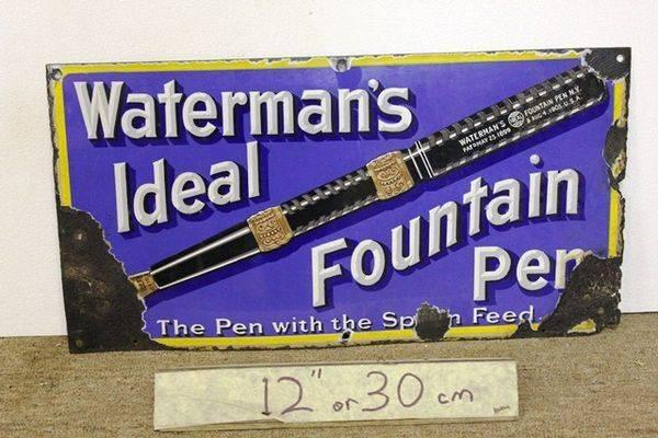 Antique Watermans Fountain Pen Pictorial Enamel Sign