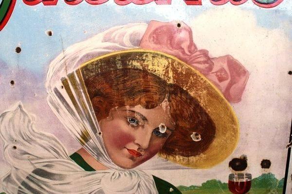 Antique Wincarnis Tonic Pictorial Enamel Sign Arriving Nov