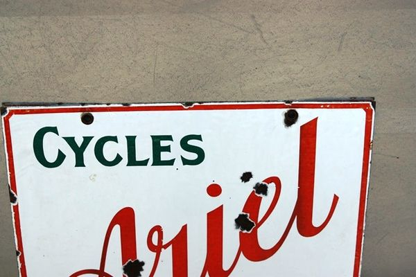 Ariel Cycles and Motors Double Sided Enamel Sign Arriving Nov
